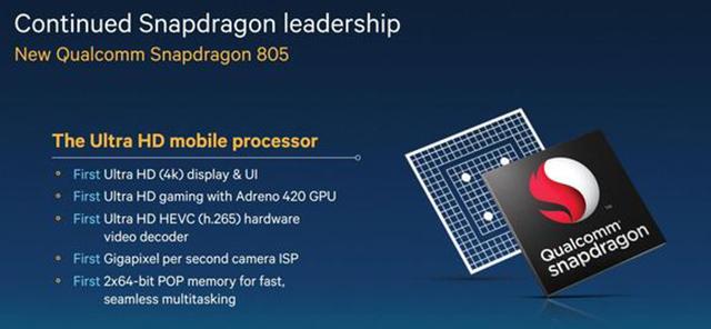چیپ Snapdragon 805 کوالکام با گرافیک ۴۲۰ آدرنو و کیفیت ۴k معرفی شد