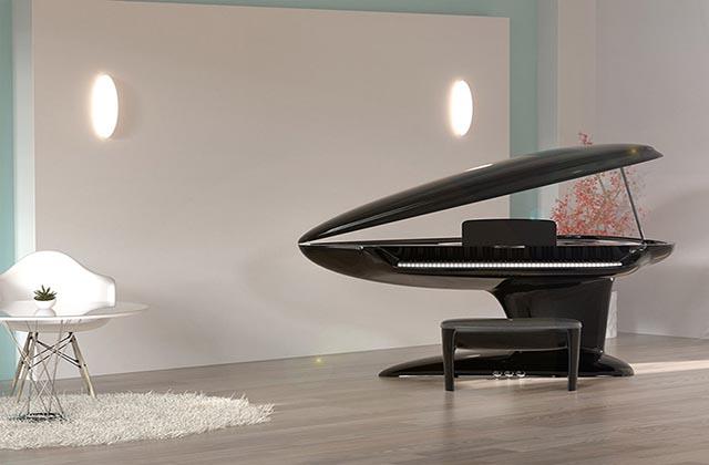 طراحی خلاقانه پیانو به شکل صدف دریایی